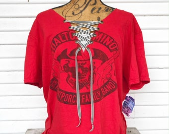 XLARGE - Dalton Domino - Music T-Shirt - Lace Up T-Shirt - Upcycled - V-Neck - Bm