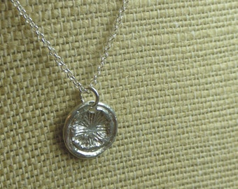 The Frost Wax Stamp Necklace. Sterling silver Snowflake Wax Seal handmade cast metal necklace- made to order
