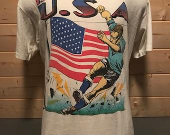 Vintage 1994 USA Soccer Cartoon Made in USA T-Shirt