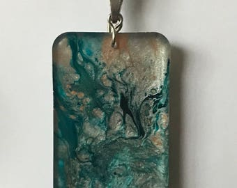 Fluid Art Necklace, OOAK Hand Painted Jewelry, Unique and Thought Provoking! Turquoise Blue Tan White Aqua