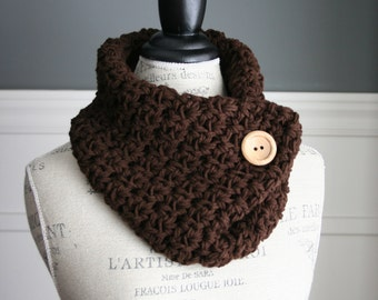 Chocolate Brown Cowl Neck Scarf with wooden button, crocheted