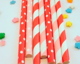 50 Pink and Red Valentine Medley Paper Drinking Party Straws