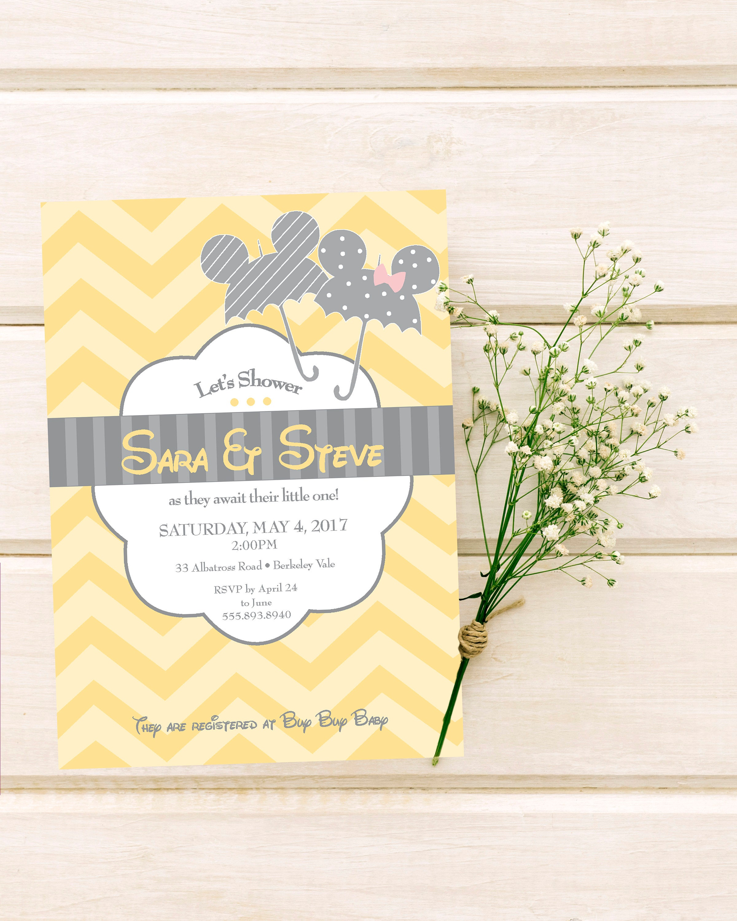 Mickey And Minnie Disney Baby Shower Invitation