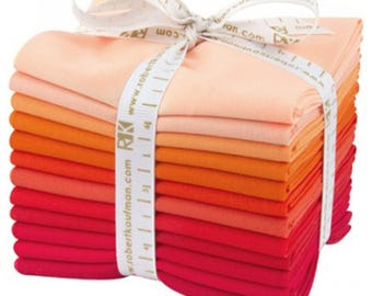 """Kona Cotton Fat Quarter Bundle """"Darling Clementine"""" by Robert Kaufman -12 different fat quarters shades of coral to red."""