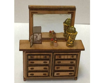 Quarter Inch Scale Country Style Dresser Dollhouse Furniture Laser Cut Kit.
