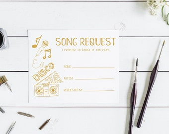 Wedding song request card, I promise to dance if you play this song, Instant Download, Printable song request card, DIY song request card