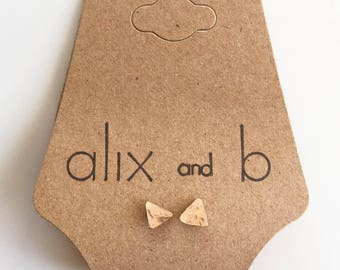 14k Gold or Rose Gold Filled Triangle Stud Earring. Handmade