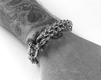 Mens Bracelet / Mens Silver Bracelet / Persian Chain / Stainless Steel Jewelry / Mens Custom Jewelry / Thick Metal Bracelet / Gift For Him