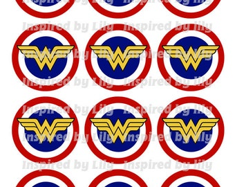 Wonder Woman Cupcake Toppers Wonder Woman Stickers Blue