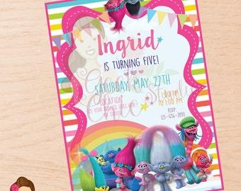 Trolls, Trolls invitation, Trolls birthday invitation, Trolls party, Trolls DIY, Trolls invite, Trolls digital invite, Trolls birthday.