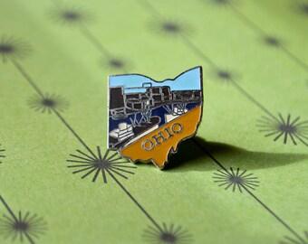 Vintage Ohio Enamel Pin - State Pin - State Souvenir Pin - Lapel Pin - Vintage Pin