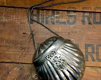 Victorian Silver Purse Clamshell Purple Velvet Shoulder Bag