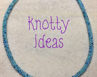 Blue Seed Bead Kumihimo Braid Necklace