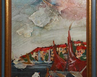 vintage small oil painting sail boats dory  buildings people sea