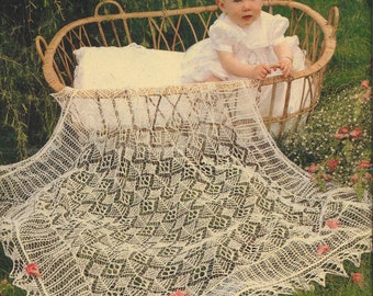 Baby Shawl Knitting Pattern - Heirloom Shetland Lace Shawl Christening Baptism Blessing 2 ply
