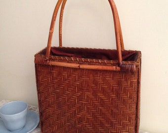 Silk lined wicker bag