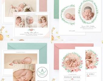 Birth Announcement Templates, Birth Announcement Girl, Birth Announcement Boy, Photography Templates, Birth Announcement Photoshop - BA7376