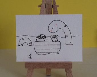 Cute dragon and jackalope with nessie illustration-hand drawn ACEO pen and marker on watercolour paper