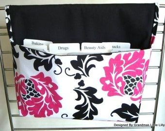 20% OFF Fabric Coupon Organizer /Budget Organizer Holder - Attaches to Your Shopping Cart - Black and Pink Damask