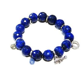 1pcs(jbrs0002) - bracelet with lapis lazuli and charm