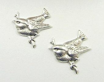 Antiqued Silver Bird, Brass Bird, Brass Stamping, 22mm x 23mm - 4 pcs (sl135)