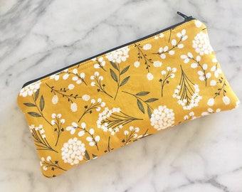 Mustard Yellow Dandelion Floral Zipper Pouch- Zipper bag- Make up Bag- Zipper Pouch- Pencil Case- Floral pencil case