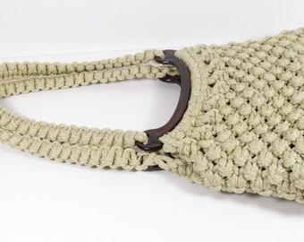 Macrame and Lucite Purse, Vintage 1970s Handmade Boho Handbag Purse, Shoulder Bag Woven Midcentury