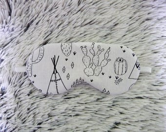 Sleeping mask fabric coloring Cactus & Tipi