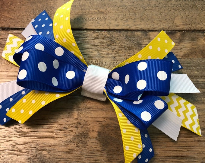 Blue & Yellow Ribbon Bows | CupcakePups | Canine Companions