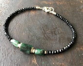 Emerald- black spinel gemstone bracelet, May Birthstone, layering bracelet, ooak, green, black stone bracelet