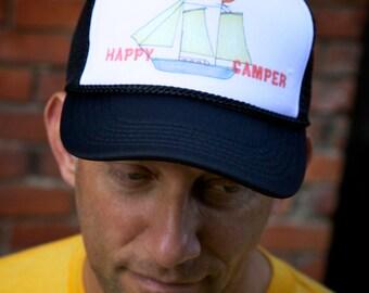 Happy Camper Sail Boat Trucker Hat