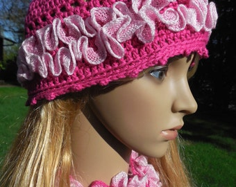Pretty Pink Ruffled Cap Woman's Size Medium