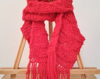 Scarf with Fringe - Bright Red - Embossed Leaf pattern