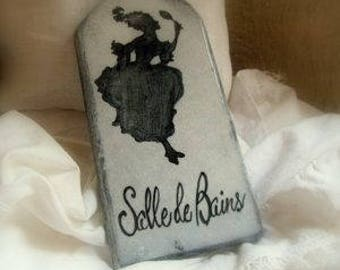 Enamelled lava plaque: bathroom silhouette
