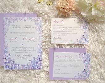 Wedding Menu Template Purple Lilac Printable Wedding - Wedding invitation templates: vietnamese wedding invitation template