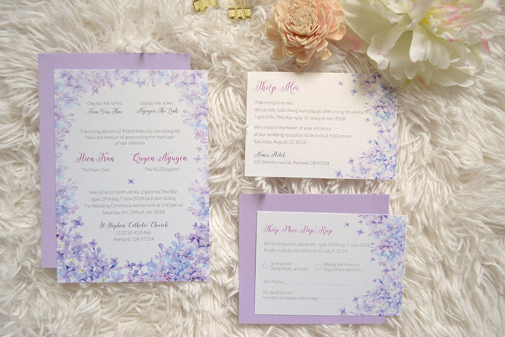 Vietnamese Wedding Invitation Purple Blue Lilac Bilingual