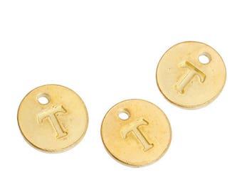 Letter T - 12mm Golden gold pendant