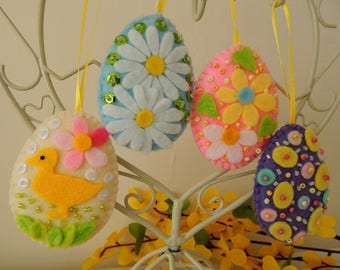 Easter Felt Folk Eggs, Spring Home Office Decor Ornaments Decorations Gift, Hanging Set of 4