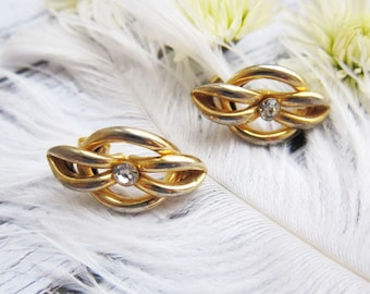 Gold earrings Gold vintage earrings Gold jewellery Gold wedding earrings Geometric earrings Gold grop earrings 1980s earrings Retro earrings