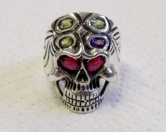 Skull Ring Sterling Silver with Birthstones RF614