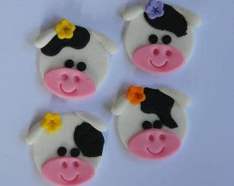 12 edible COW FACES CUPCAKE farm dairy cute icing toppers cookie cake topper cupcake decoration wedding engagement birthday