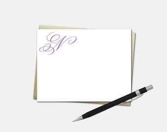 Personalized Simple Initial Note Cards - Set of 10 - Flat Note Cards - 26 Font Choices - 50 Color Choices - Simple Initial Note Cards