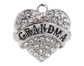 1 Rhinestone Heart Pendant Grandma Charm Rhinestone Charm Heart Pendant  4425