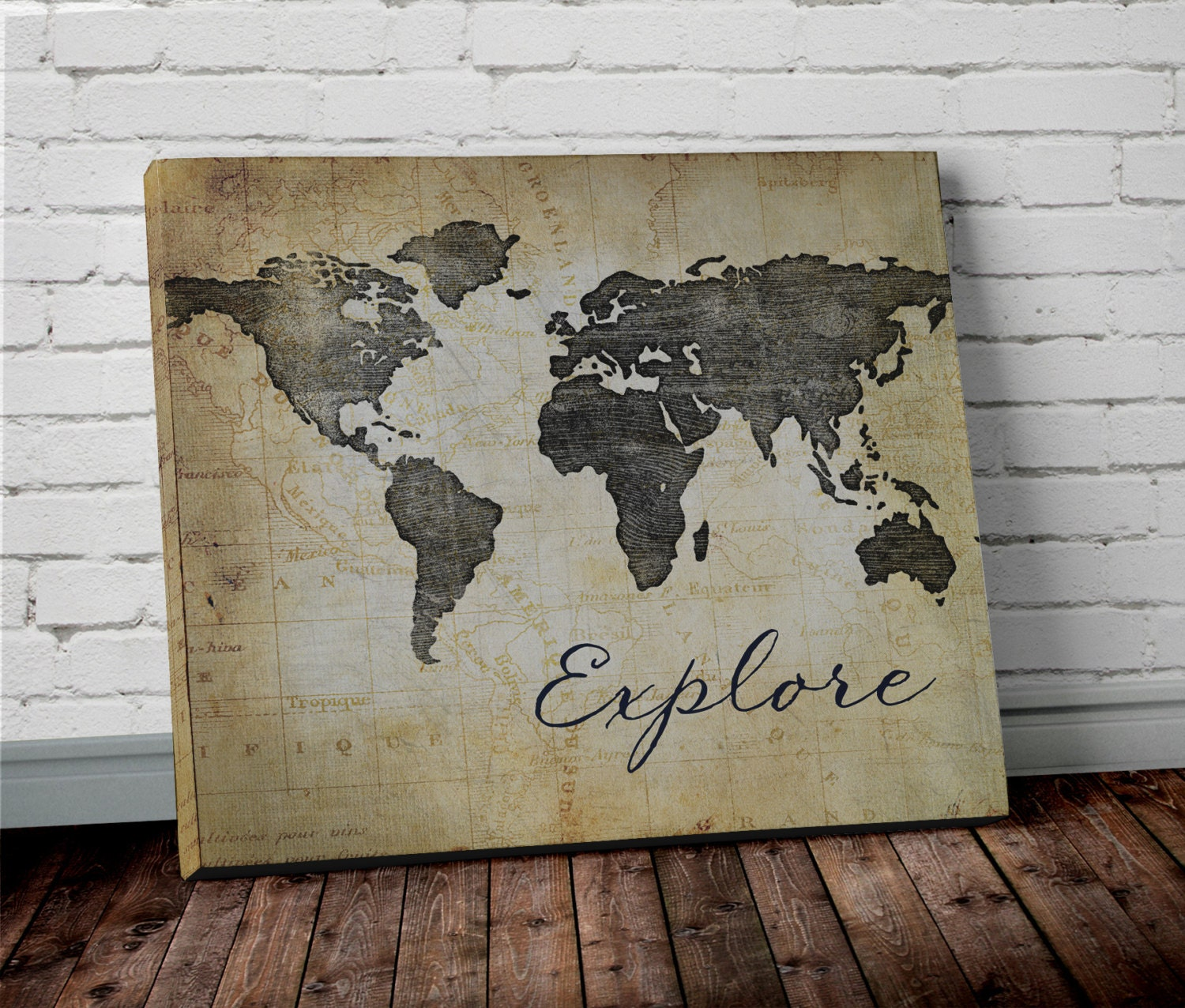 Explore WORLD MAP Wall ART Canvas World Map Print In Brown - World map canvas