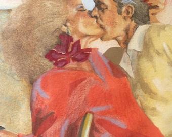 Rhonda Klapper Original Vintage Mid Century Modern Exhibited American  Modernist California Illustration Drawing Watercolor Gouache Painting