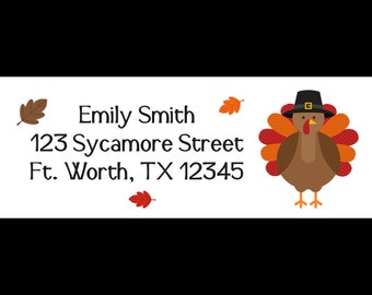 30 Personalized Turkey  Return Address Labels  - Thanksgiving Design - Fall