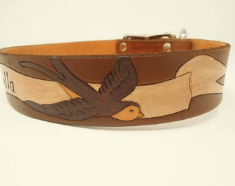 Personalized Leather Dog Collars - Personalized Dog Collars - Leather Dog Collars - Tattoo - Swallow - Personalized Gift - Wide Collar