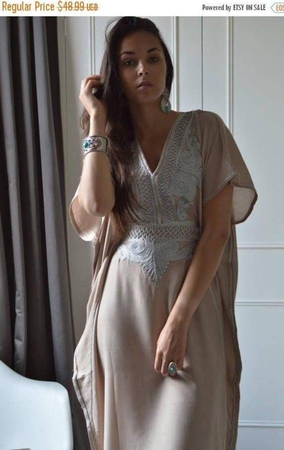 KAFTAN 20% SALE/ Beige Caftan Resortwear with Grey Embroidery -loungewear,resortwear, great for  Birthdays, Honeymoon gifts, Ramadan, Eid