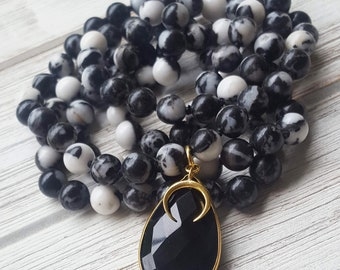 Dark Side of the Moon Mala Necklace Zebra Jasper Knotted Mala Necklace Mala Beads Yoga Necklace Mala Necklace Gemstone Mala Prayer Beads