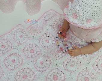 Crochet Blanket and Hat Pattern - Dainty Daisies - Granny Square Blanket  With detailed Photo Tutorial - Hat comes with 7 sizes Dolly - Teen